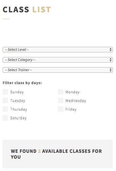 Yoga classes can be filtered by different categories