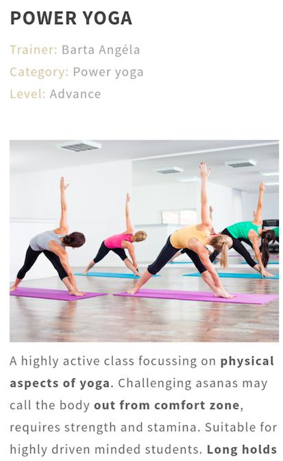 Yoga class details