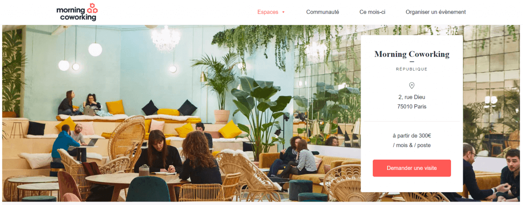 French listing site Morning Coworking offers several cozy shared offices locations throughout Paris