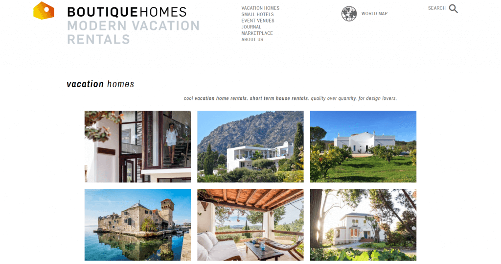 Boutique Homes offers hand-picked vacation sites for connoisseurs